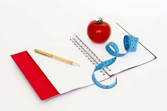 блокнот, ручка, измерительная рулетка и помидор.
