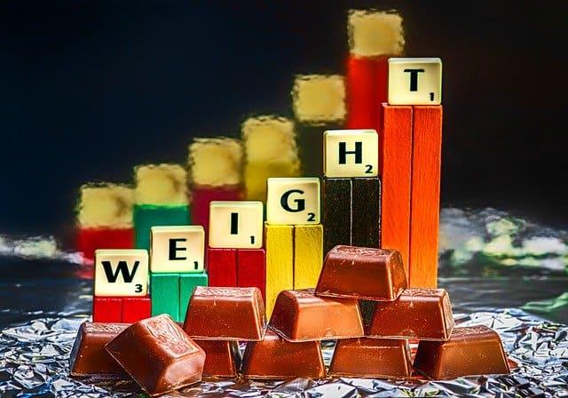 Шоколадные плитки и плитки, показывающие прирост веса