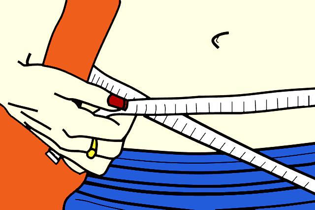 рисунок стройной женщины, измеряющей талию сантиметром.